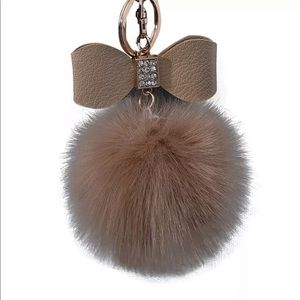 ❤️3/$15 Diamond Bow Rabbit Fur Pom Pom Keychain